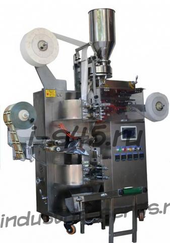 автомат фасовки и упаковки чая и трав в одноразовый фильтр пакет с ярлыком и ниткой и индивидуальным пакетом