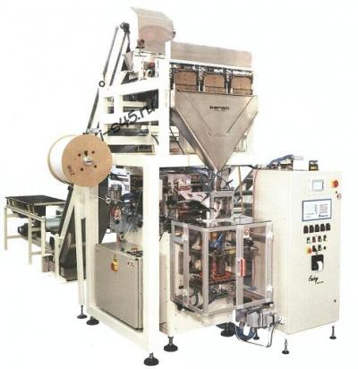 Вертикальная фасовочно-упаковочная машина для фасовки и упаковки сыпучих продуктов в трехшовные пакеты с замком зип-лок zip-lock (Италия)
